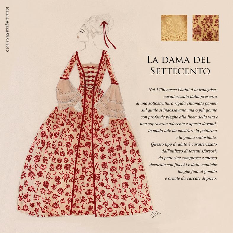 Dal bozzetto all abito la dama del settecento fiammetta for Storia della moda anni 50